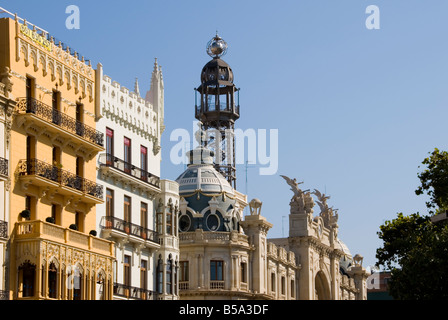 Elaborate sculptured rooftops around the Town Hall square Plaza Ayuntamiento in the city centre of Valencia Spain - Stock Photo