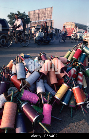 Kite spools Kite Festival in January Ahmedabad Gujarat state India Asia - Stock Photo