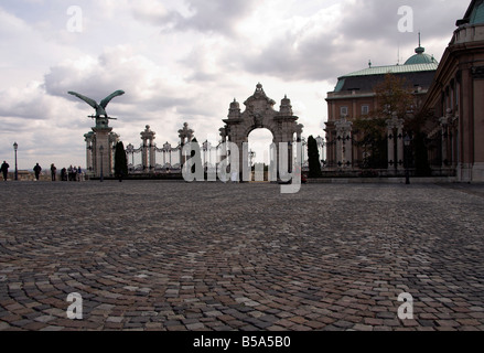Hasburg Steps, gate, Royal Palace, Castle Hill, Buda, Old Town, Budapest, Hungary - Stock Photo