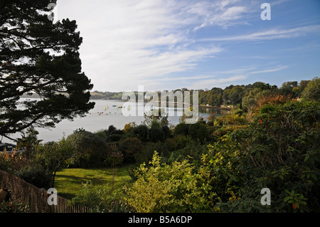 View of Carrick Roads from Loe Beach, Feock, Truro, Cornwall, England, UK - Stock Photo