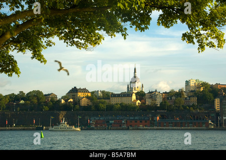 The view of Catherine Church on Södermalm from the island of Skeppsholmen in Stockholm, Sweden, Europe - Stock Photo