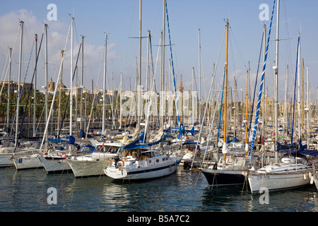 Boat and yacht Marina in Barcelona, Spain - Stock Photo