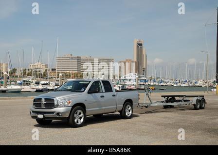 Pickup truck at the Marina of Corpus Christi, Texas USA - Stock Photo