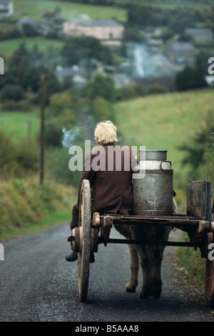 Figure riding cart with milk churn, Arigna, Shannon River, County Leitrim, Connacht, Republic of Ireland, Europe - Stock Photo