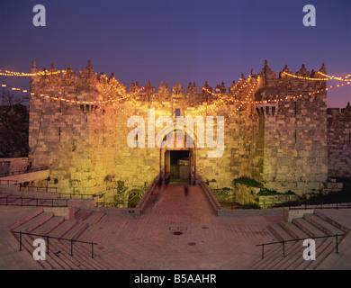 Damascus Gate at dusk, Old City, UNESCO World Heritage Site, Jerusalem, Israel, Middle East - Stock Photo