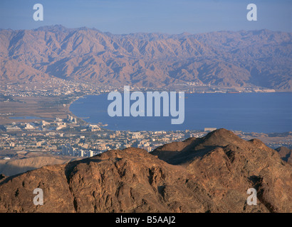 View over Gulf of Eilat, Eilat, Israel, Middle East - Stock Photo