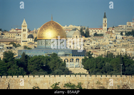 Dome of the Rock and Temple Mount from Mount of Olives, UNESCO World Heritage Site, Jerusalem, Israel, Middle East - Stock Photo
