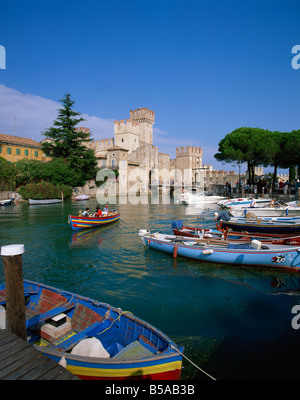 Boats at Sirmione on Lake Garda Lombardy Italy Europe