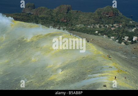 Volcanic steam issuing from sulphurous fumaroles at the rim of the Gran Cratere, Vulcano Island, Aeolian Islands, - Stock Photo