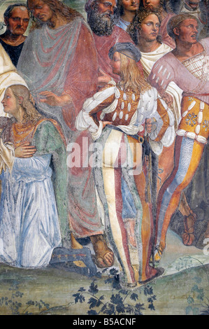Detail of frescoes in cloister, Monte Oliveto Maggiore Abbey, Chiusure, Tuscany, Italy, Europe - Stock Photo