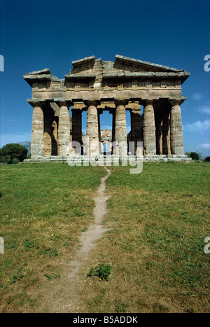 Temple of Neptune at Paestum, near Salerno, Campania, Italy, Europe - Stock Photo