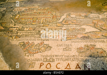 Old mosaic map of the world in St Georges church Madaba Jordan Middle East - Stock Photo