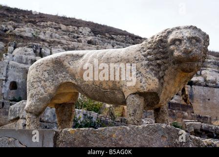 Lion statue, Temple of Apollo, Sanctuary of Apollo, Greek and Roman site of Cyrene, Libya, North Africa, Africa - Stock Photo
