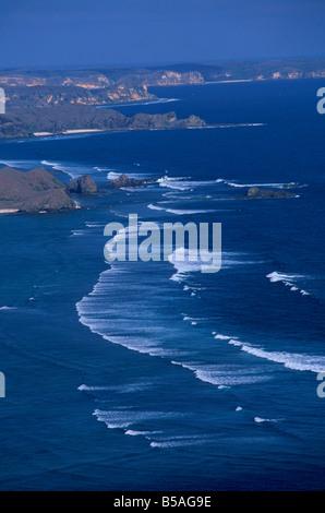 Looking along the south coast east of Kuta, Lombok, Indonesia, Southeast Asia - Stock Photo