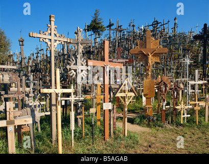Kryziu Kalnas (Hill of Crosses), in the Siauliai area of Lithuania, Baltic States, Europe - Stock Photo