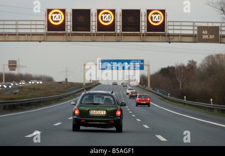 Speed limit display on the highway A2, Hannover, Germany - Stock Photo
