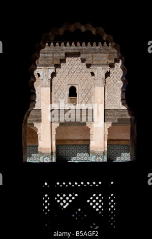 The Medersa Ben Youssef, richly decorated in marble, carved wood and plasterwork, Medina, Marrakesh, Morroco, Africa - Stock Photo