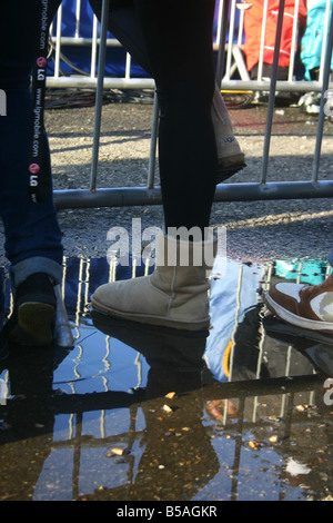 close up of boots at battersea freeze festival - Stock Photo