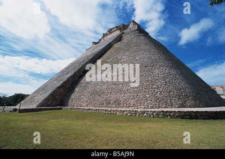 Magicians Pyramid at the Mayan site of Uxmal UNESCO World Heritage Site Uxmal Yucatan Mexico North America - Stock Photo