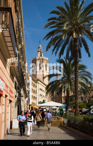 The Miguelete cathedral bell tower on Plaza de la Reina in the historical city centre of Valencia Spain - Stock Photo