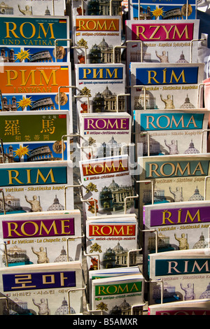 Rome guidebooks on display outside a shop, Rome, Italy - Stock Photo
