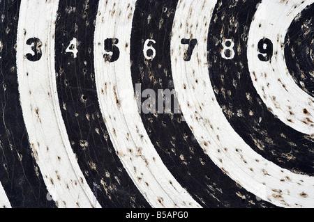bingo - target with numeral row - score - Stock Photo