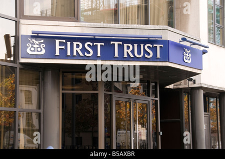 Entrance to First Trust headquarters, Belfast - Stock Photo