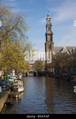 Westerkerk church and the Prinsengracht canal, Amsterdam, Netherlands, Europe - Stock Photo