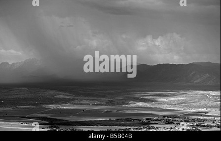 aerial view above rain showers from cumulonimbus clouds west Texas - Stock Photo