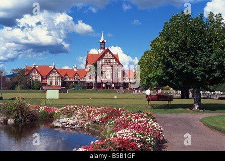 Gardens in front of the Bath House Museum in Rotorua, North Island, New Zealand, Pacific - Stock Photo