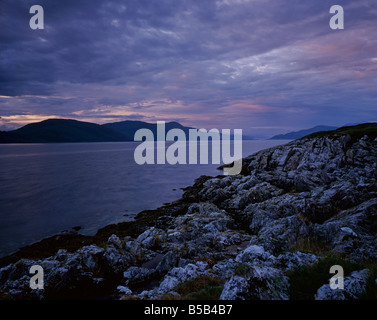 The view Northwest up Loch Linnhe towards Corran narrows from Cuil point, Kentallen, North Argyll, Scotland, UK - Stock Photo