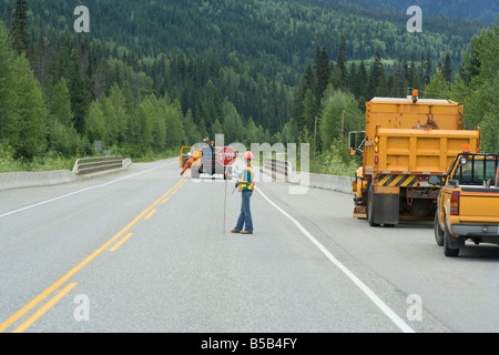 Road works Highway 18 in British Columbia Canada - Stock Photo