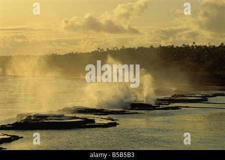 Houna blowholes in coral, Tongatapu Island, Tonga, Pacific Islands, Pacific - Stock Photo
