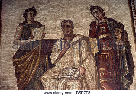 Virgil and the Muses, a 3rd century mosaic, Bardo Museum, Tunis, Tunisia, North Africa, Africa - Stock Photo