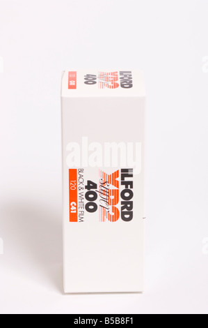 A roll of Ilford XP2 super 400 asa black & white 120 roll film to go in medium format cameras and be processed in - Stock Photo
