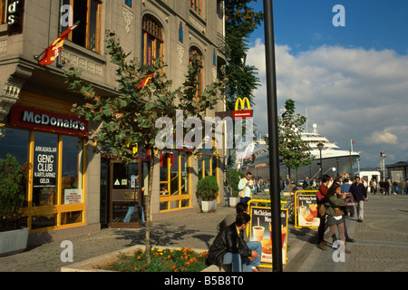 McDonalds out let at port Istanbul Turkey Europe - Stock Photo