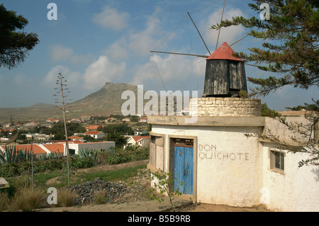 Old mill incorporated into house Porto Santo Island off Madeira Portugal Atlantic Europe - Stock Photo