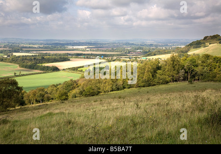 aston rowant oxfordshire chilterns with M40 motorway in distance - Stock Photo
