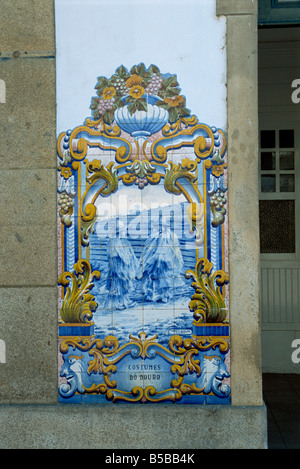 Azulejos, Pinhao railway station, Douro region, Portugal, Europe - Stock Photo