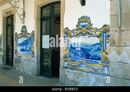 Pinhao railway station, famous for its tiles depicting port making, Douro region, Portugal, Europe - Stock Photo