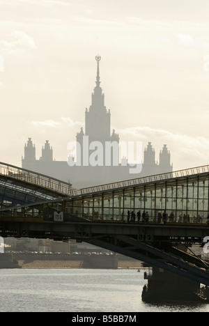 A view of the bridge with the building of Moscow university on the background - Stock Photo