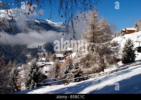 switzerland valais val d'anniviers st luc view of the village - Stock Photo
