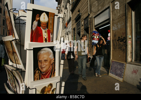 pope postcards on stand outside gift shop in rome - Stock Photo