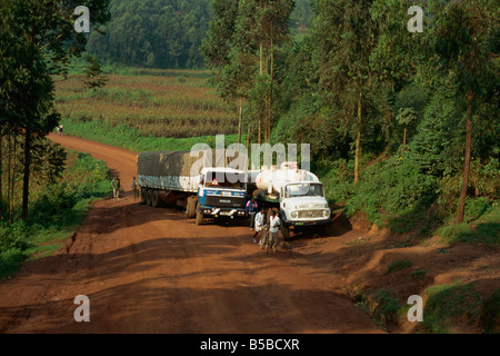 World Food Program truck in transit from Rwanda near Kisoro Uganda East Africa Africa - Stock Photo