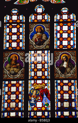 Stained glass window in Gothic cathedral, Kosice, Slovakia, Europe - Stock Photo