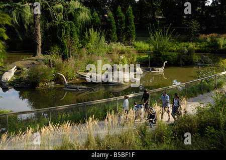 The Dinosaur Park at Crystal Palace, London, England, Europe - Stock Photo