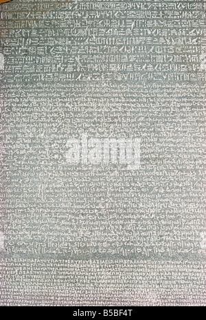 Detail, Rosetta Stone, British Museum, London, England, Europe - Stock Photo