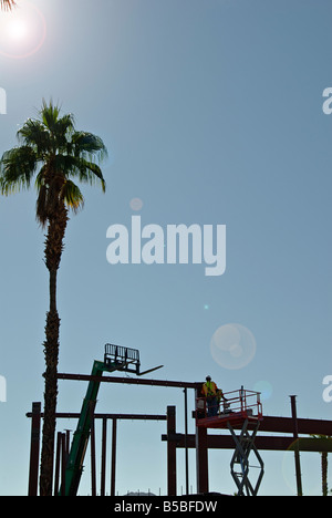 Palm Desert CA Business Iron construction site workers El Paseo Drive Desert southern california palm tree - Stock Photo