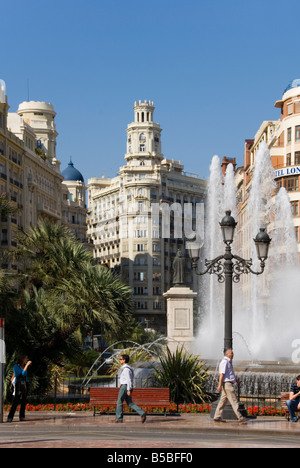 Town Hall square PLaza Ayuntamiento in the old city centre of Valencia Spain - Stock Photo