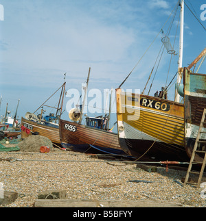 Fishing boats on shingle beach, Hastings, East Sussex, England, Europe - Stock Photo